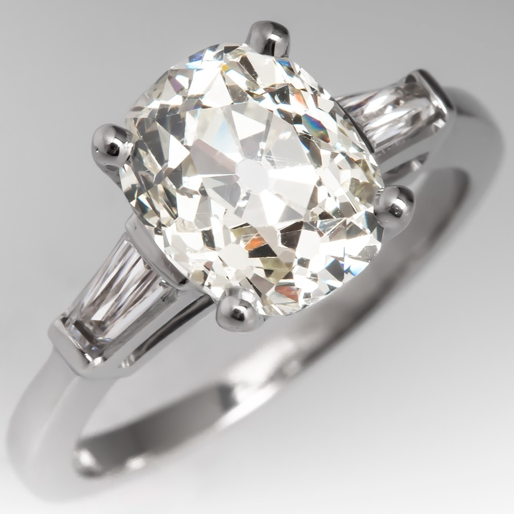 Heirloom Old Mine Cut Diamond Ring w/ Tapered Baguettes Platinum