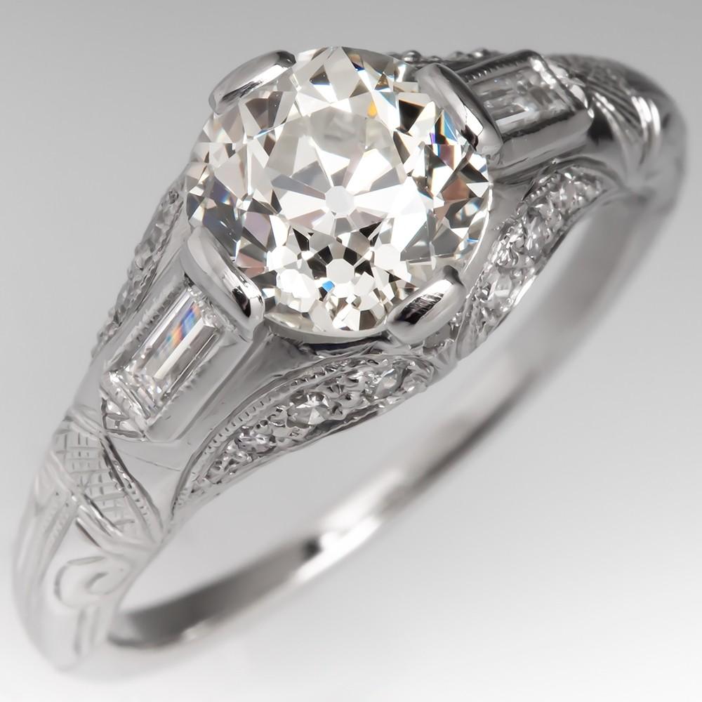Antique 1930's Diamond Engagement Ring Platinum 1.63Ct Old Euro