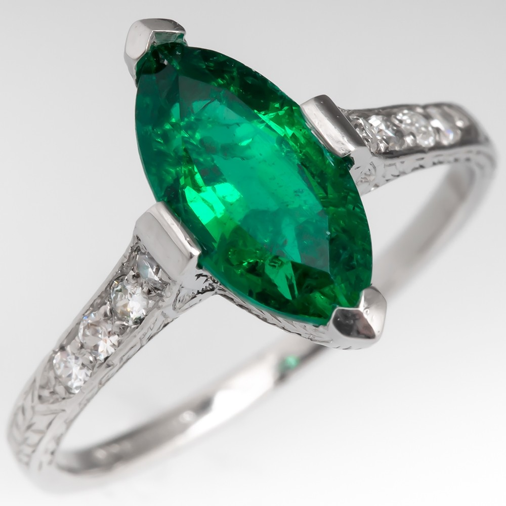 Stunning 1930's Marquise Emerald Engraved Platinum Ring