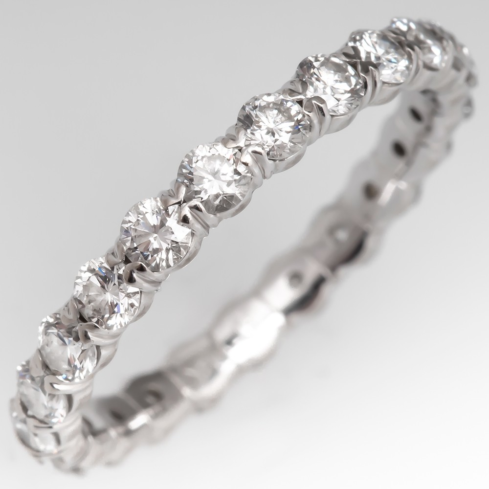 Size 6.5 Round Brilliant Diamond White Gold Eternity Band