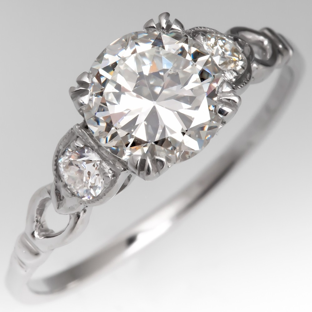 Low Profile 1 Carat Transitional Cut Diamond Engagement Ring