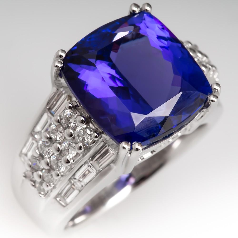 9 Carat Cushion Cut Tanzanite Wide Band Diamond Ring