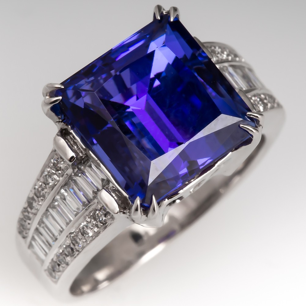 7.5 Carat Tanzanite Cocktail Ring w/ Diamond Accents