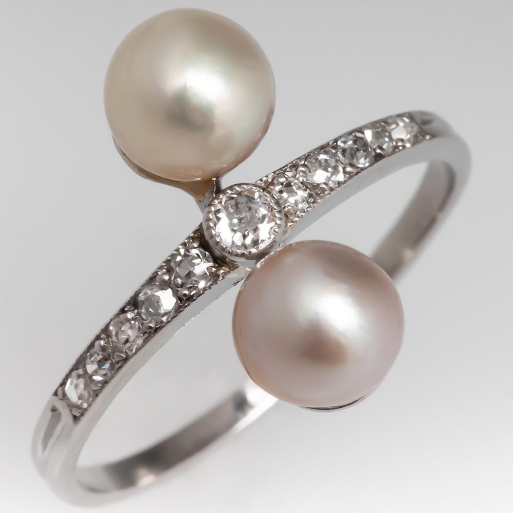 Circa 1910 Antique Twin Pearl Diamond Ring