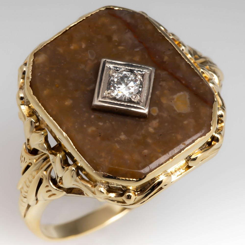 Antique Natural Agate & Diamond Cocktail Ring 14K Gold