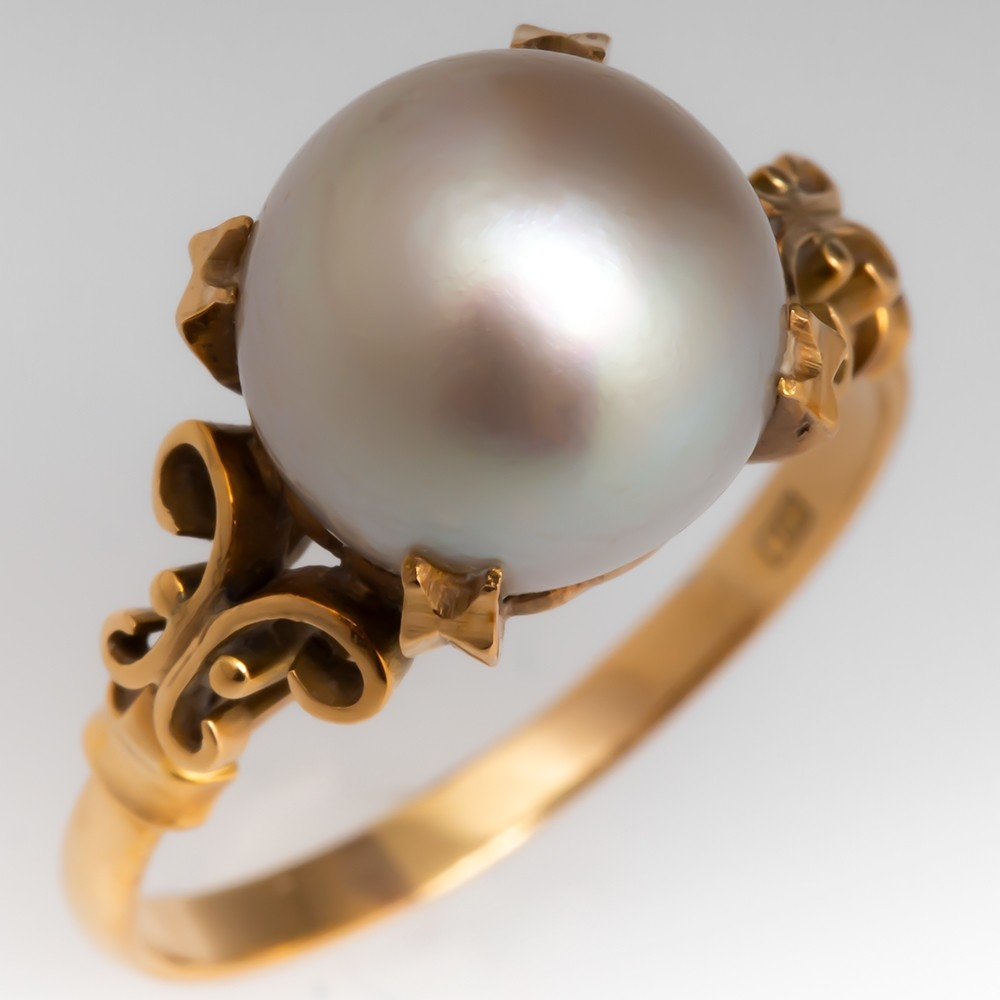 Vintage 18K Yellow Gold Solitaire Pearl Ring