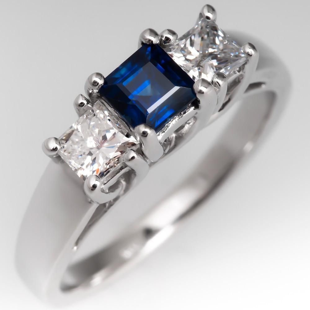 Square Cut Blue Sapphire & Diamond Three Stone Engagement Ring 14K