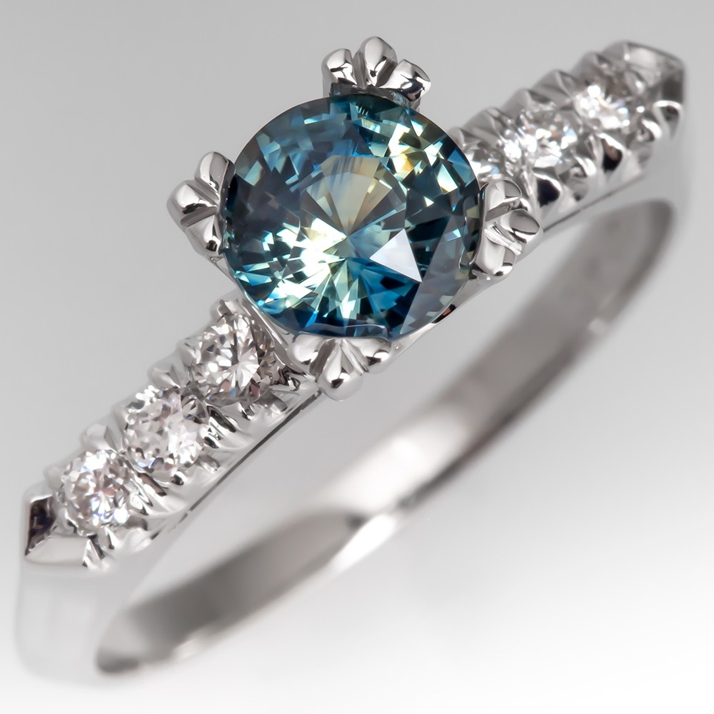 Vivid No Heat Blue Green Sapphire Engagement Ring