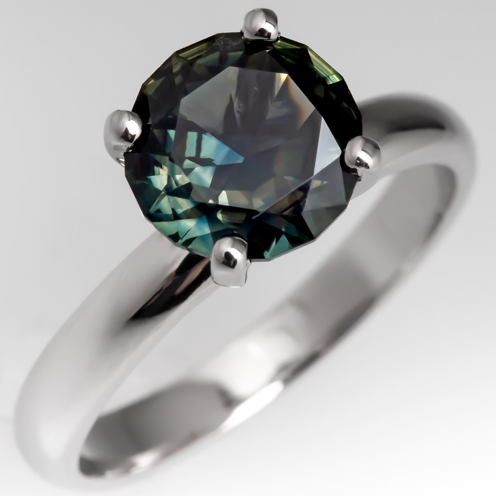 Platinum Solitaire Unheated Blue Green Sapphire Engagement Ring