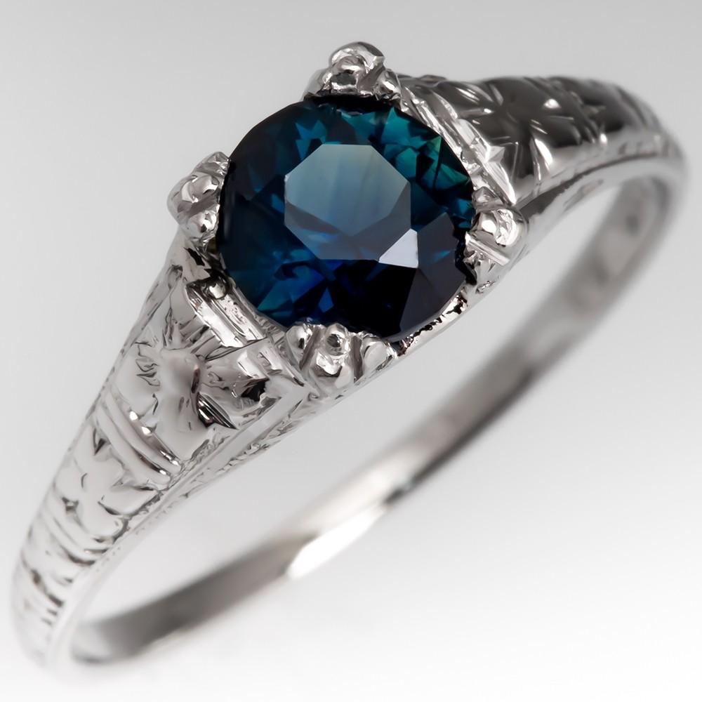1 Carat No Heat Blue Green Sapphire Engagement Ring