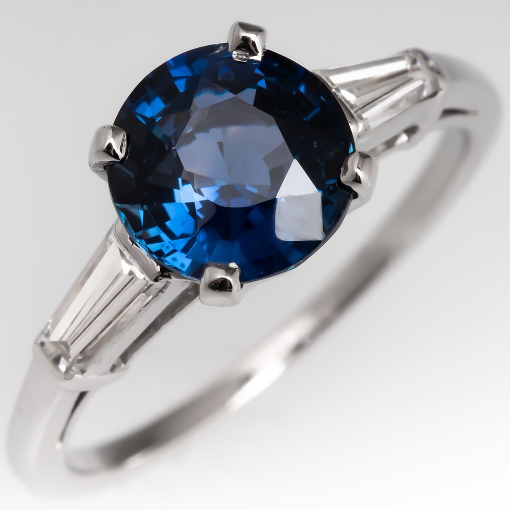 2 Carat Sapphire Engagement Ring w/ Tapered Baguette Diamonds