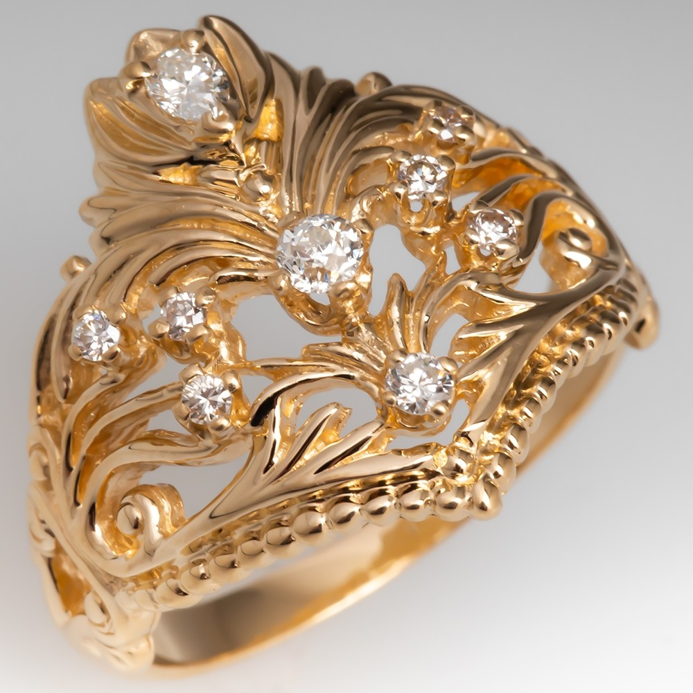 Ornate Yellow Gold and Diamond Low Profile Ring