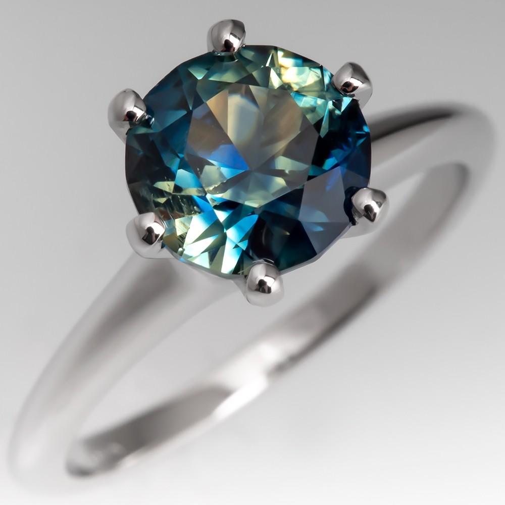 No Heat Bi Color Parti Sapphire Solitaire Engagement Ring 18K Gold Jabel Mount