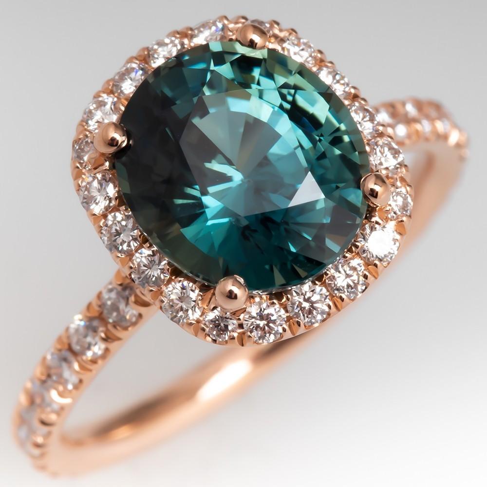 No Heat Green Blue Sapphire Ring Rose Gold Diamond Halo