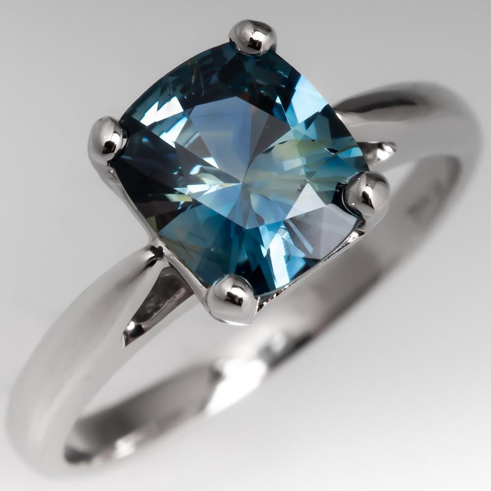 Cushion Cut Blue Green Sapphire Solitaire Ring Platinum