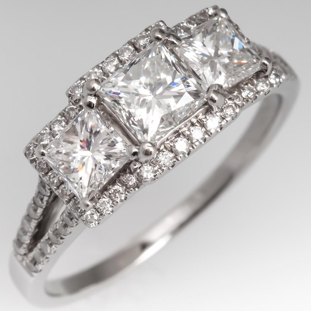 Three Stone Diamond Engagement Ring Princess Cut Halo 14K White Gold