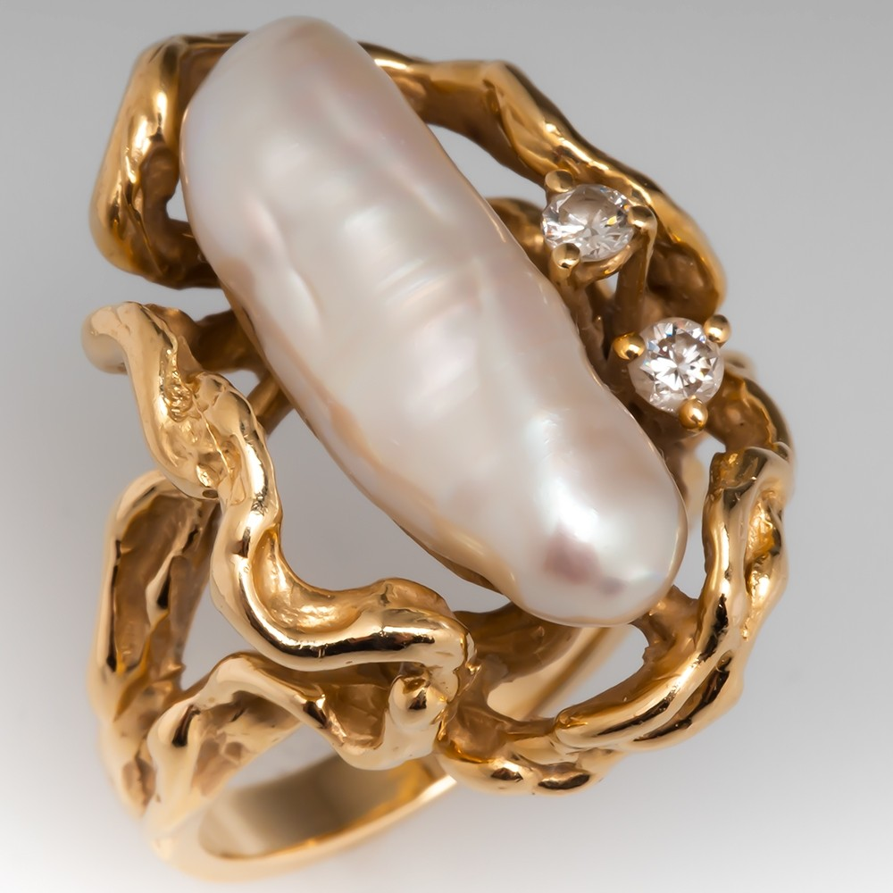 Vintage Baroque Pearl & Diamond Cocktail Ring 14K Yellow Gold