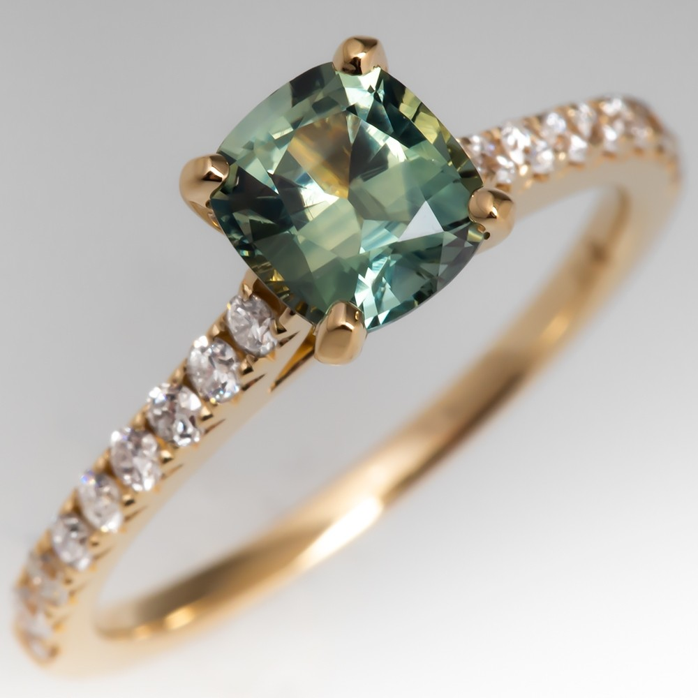 Natural Pastel Green Blue Sapphire Ring 14K Yellow Gold w/Diamonds