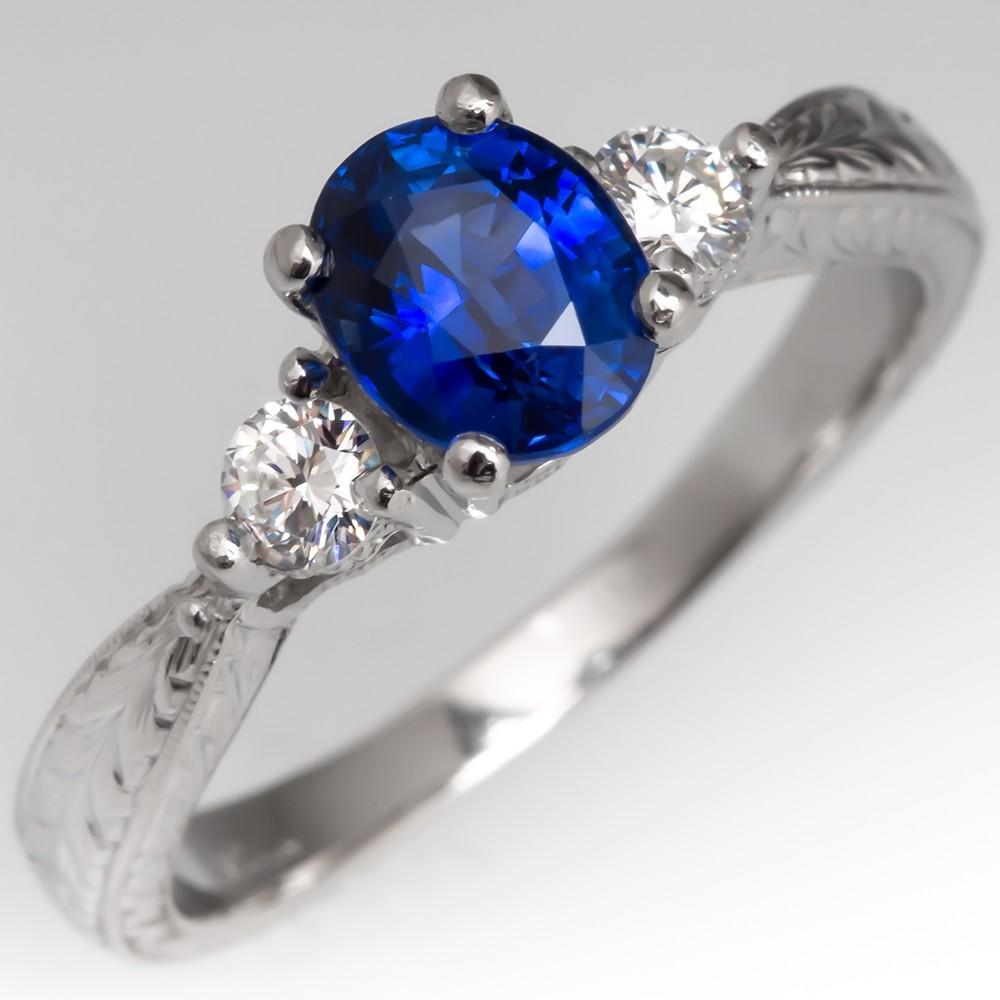 Platinum Blue Sapphire & Diamond Engagement Ring