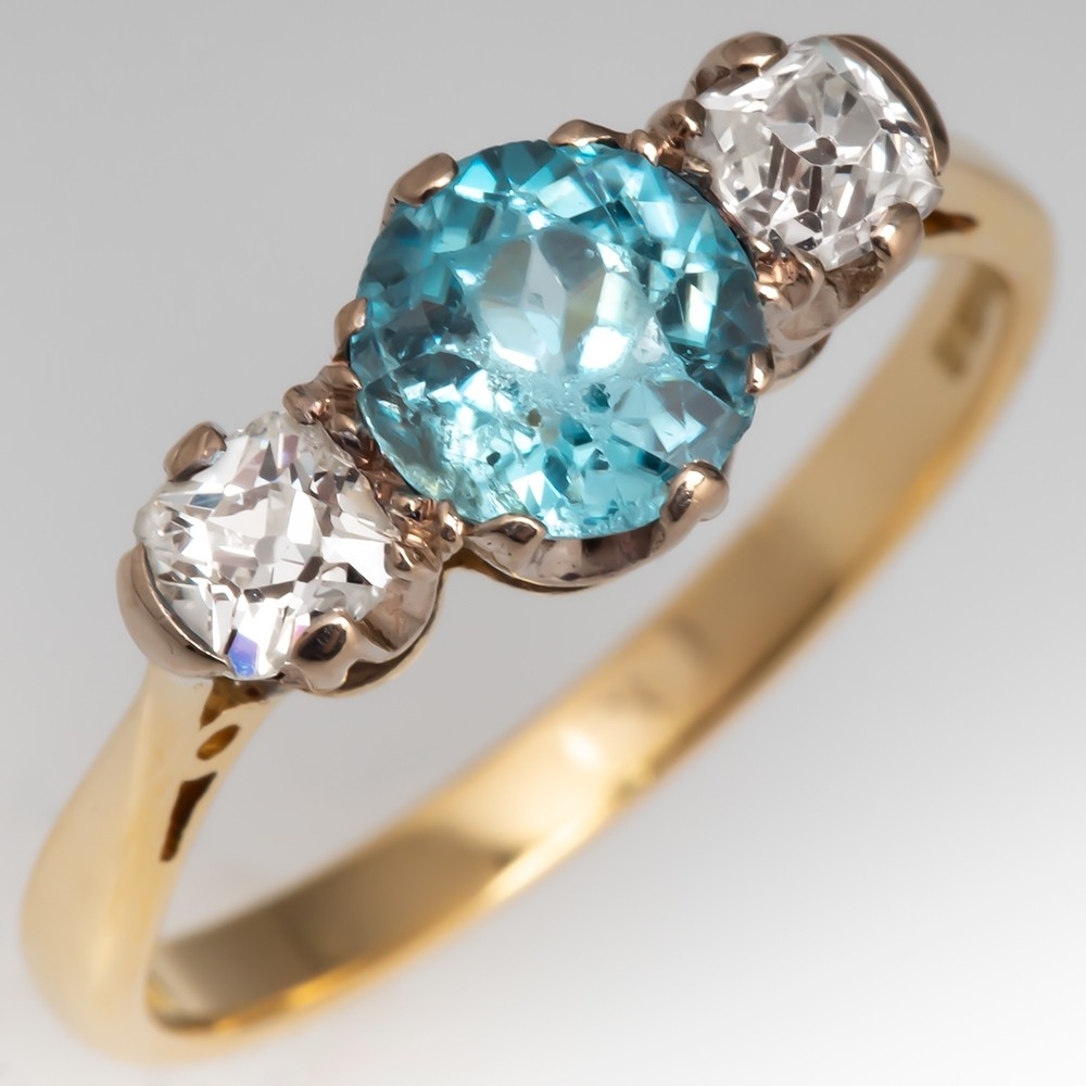 Natural Blue Zircon & Old Diamond Three Stone Ring 18K Gold 1981