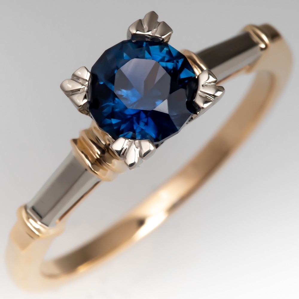 No Heat Vivid Blue Sapphire Solitaire Ring Vintage Mounting