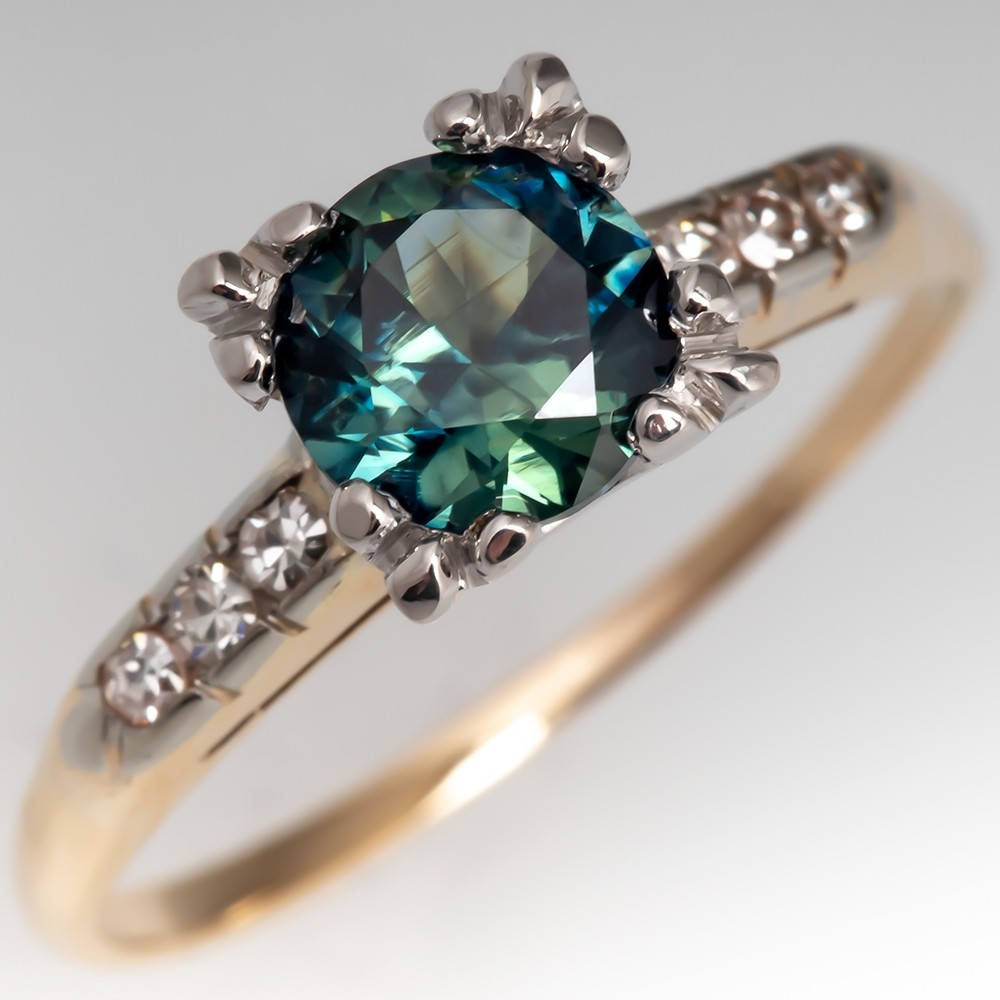 Vivid Blue Green Sapphire Engagement Ring Vintage 14K Gold Mounting
