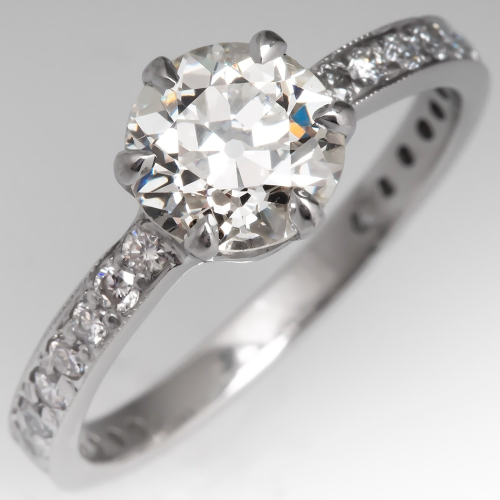 GIA 1.5 Carat Old Euro Diamond Engagement Ring 6-Prong