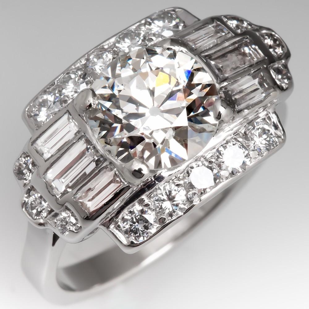 Low Profile 1.9 Carat Mid-century Diamond Engagement Ring in Platinum