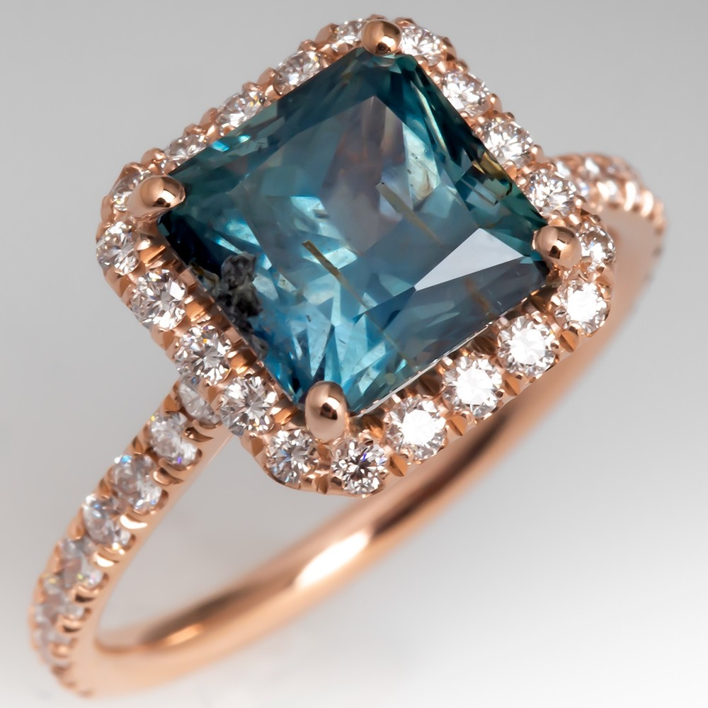No Heat Natural Montana Sapphire Ring 14K Rose Gold Diamond Halo