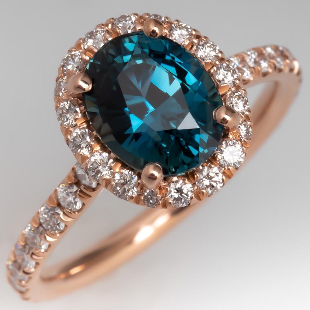 Blue Green Teal Sapphire Ring 14K Rose Gold Diamond Halo