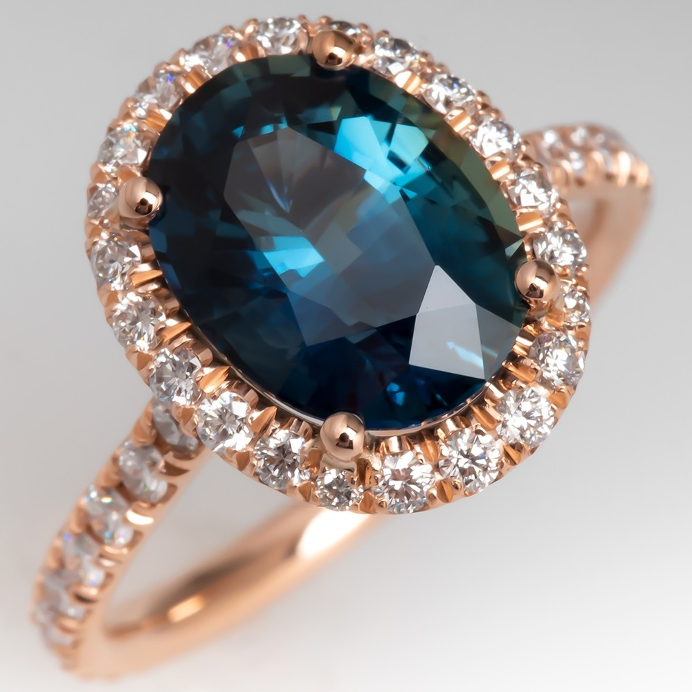 Beautiful Peacock Colored Sapphire Ring w/ Rose Gold Diamond Halo