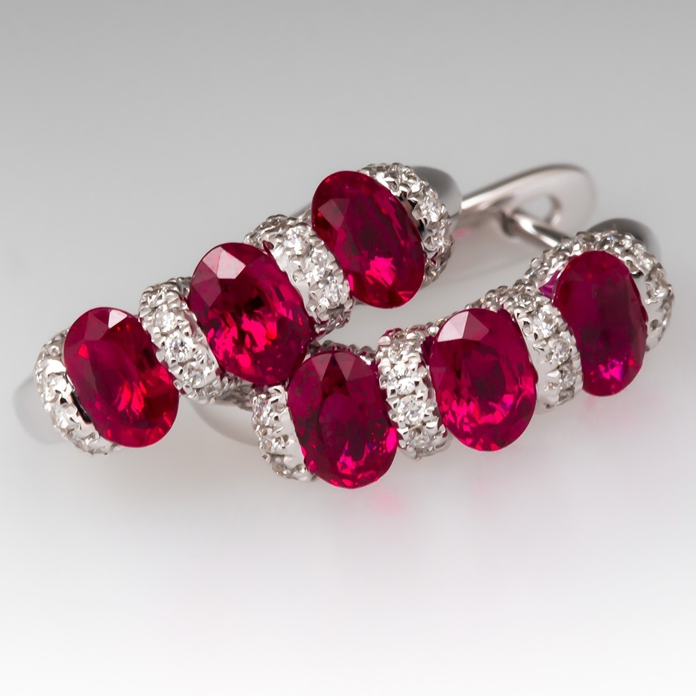 Spark Ruby & Diamond Hoop Earring 18K White Gold