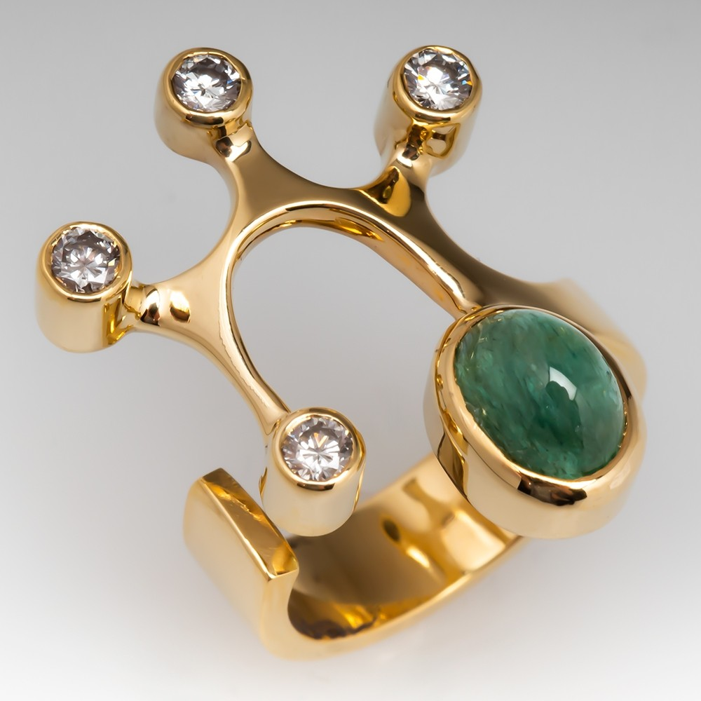 Cat's-Eye Emerald Cocktail Ring w/ Diamonds 18K Gold