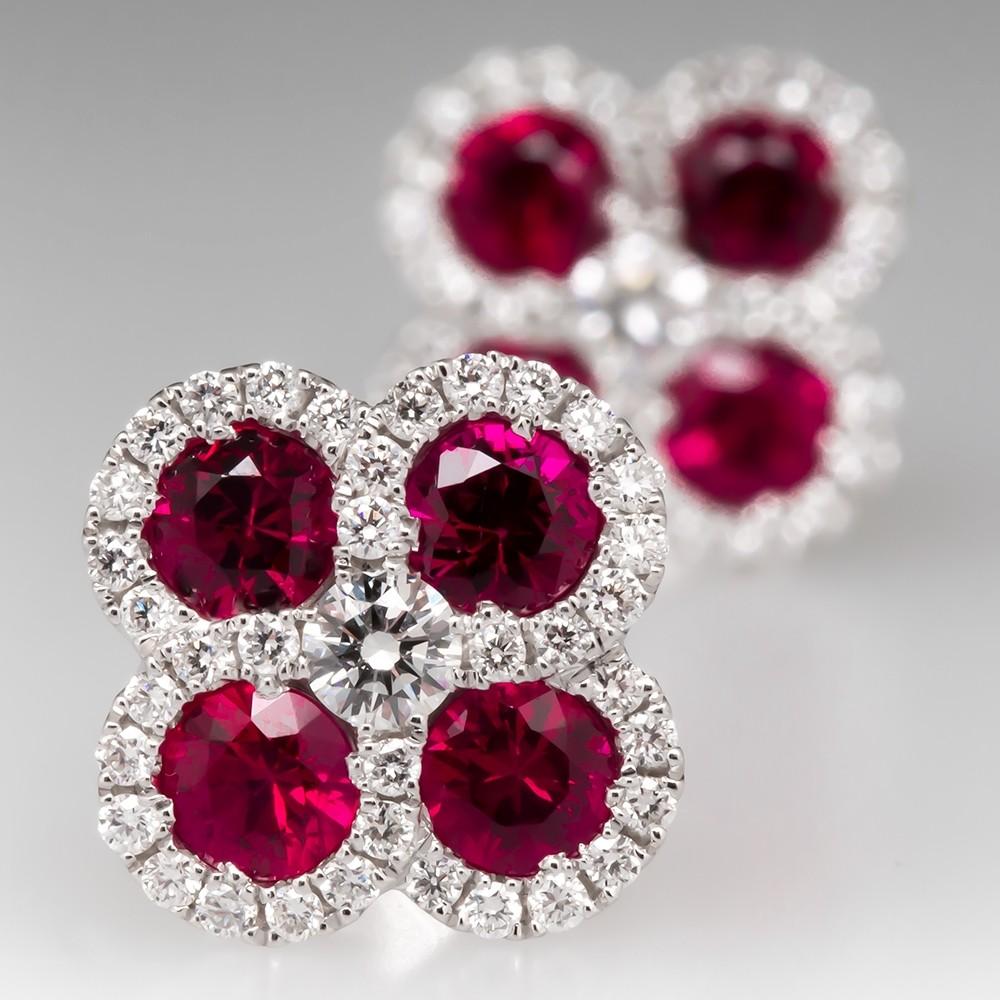 Spark Natural Ruby & Diamond Stud Earrings 18K White Gold