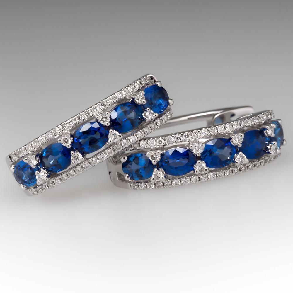 Spark Designer Sapphire & Diamond Hoop Earrings 18K White Gold