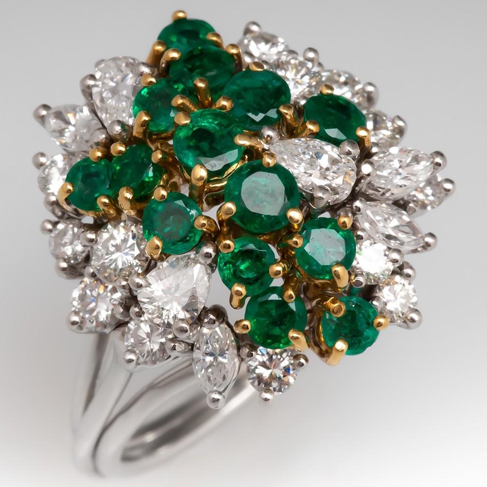 Estate Natural Emerald & Diamond Cluster Ring Platinum & 18K Gold