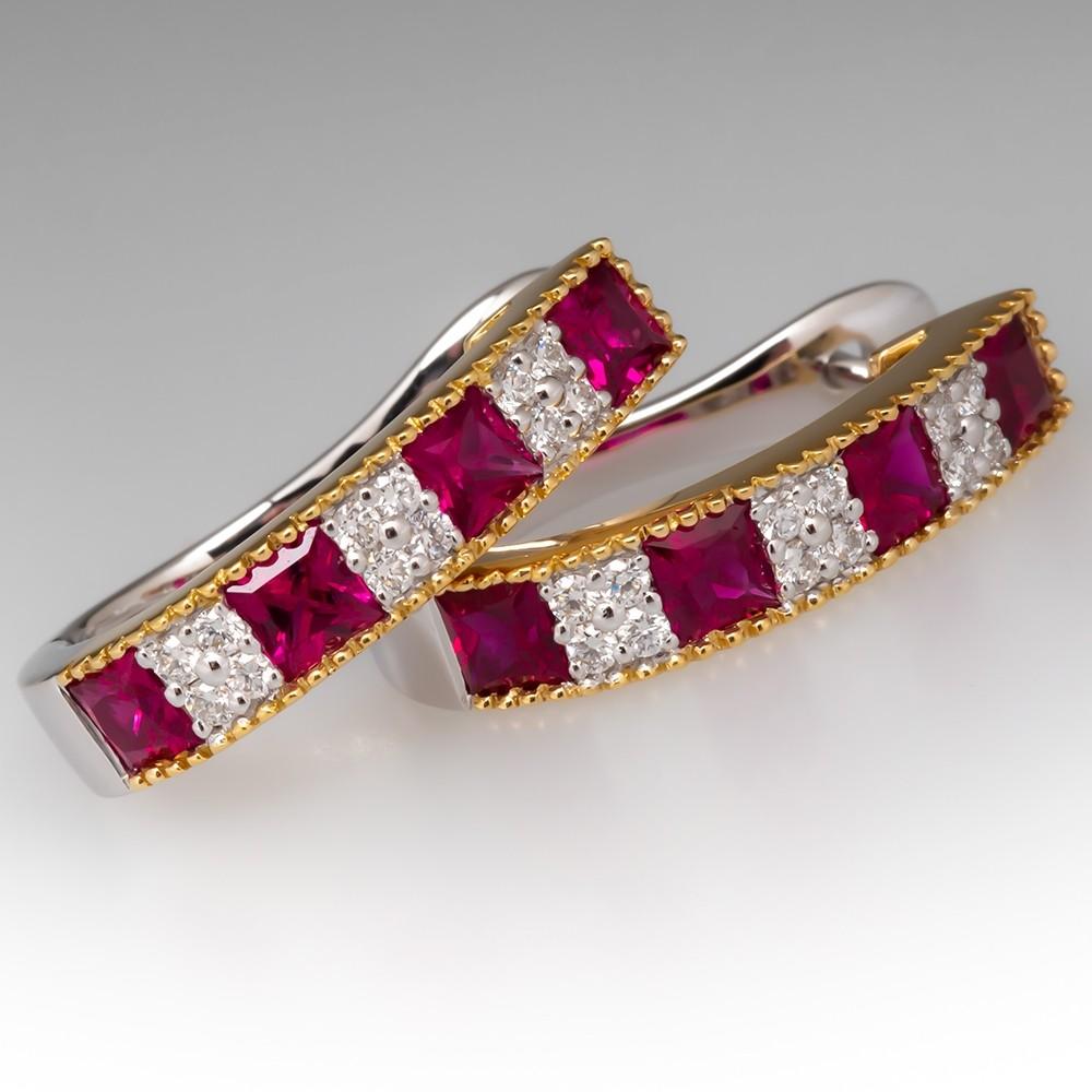 Spark Designer Ruby & Diamond Hoop Earrings 18K Gold