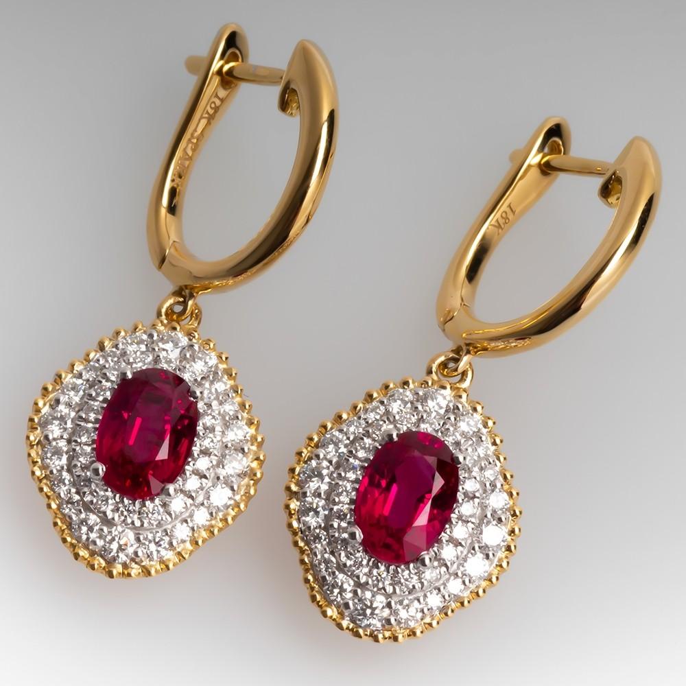Spark Designer Ruby & Diamond Dangle Earrings 18K Gold