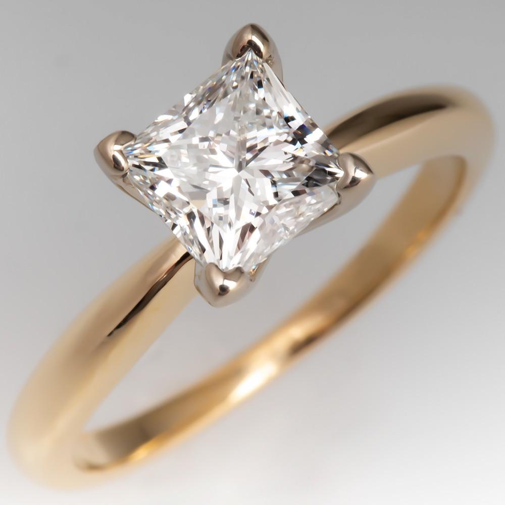 GIA Certified 1 Carat Princess Cut Diamond Solitaire Engagement Ring