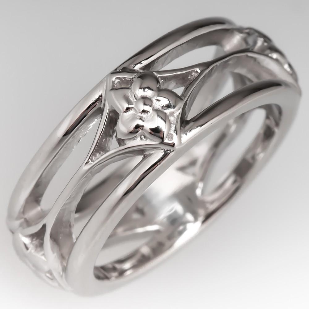 Floral Motif Platinum Band Ring Size 4.25