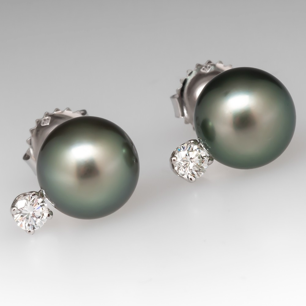 Beautiful Tahitian Pearl & Diamond Stud Earrings 14K White Gold