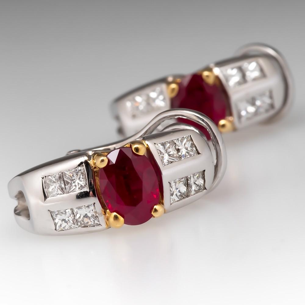 Estate Natural Ruby & Diamond Earrings 18K Gold
