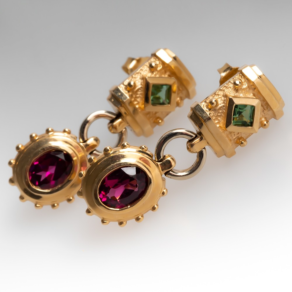 Etruscan Style Garnet & Peridot Earrings 14K Yellow Gold