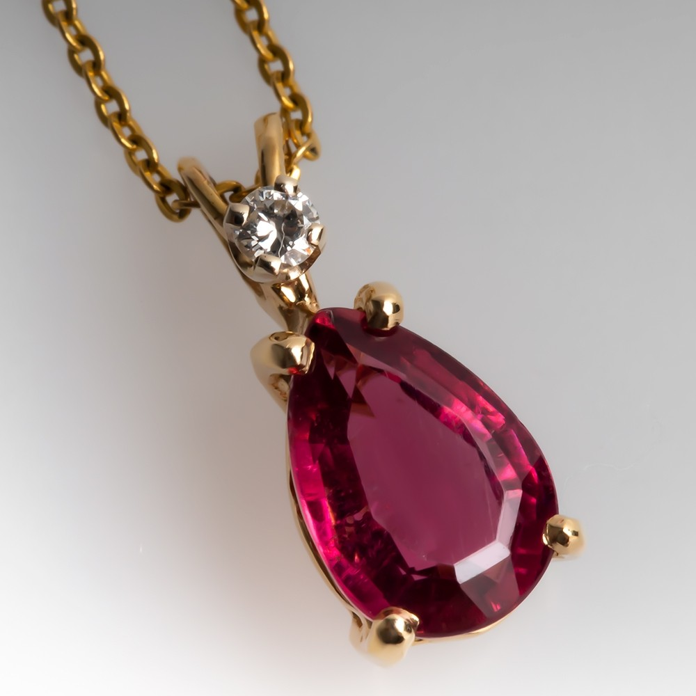 Pear Cut Pink Tourmaline & Diamond Pendant Necklace 14K Gold