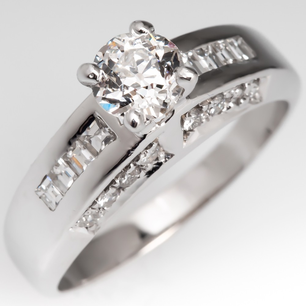 Heirloom Old Mine Cut Diamond Engagement Ring 14K White Gold