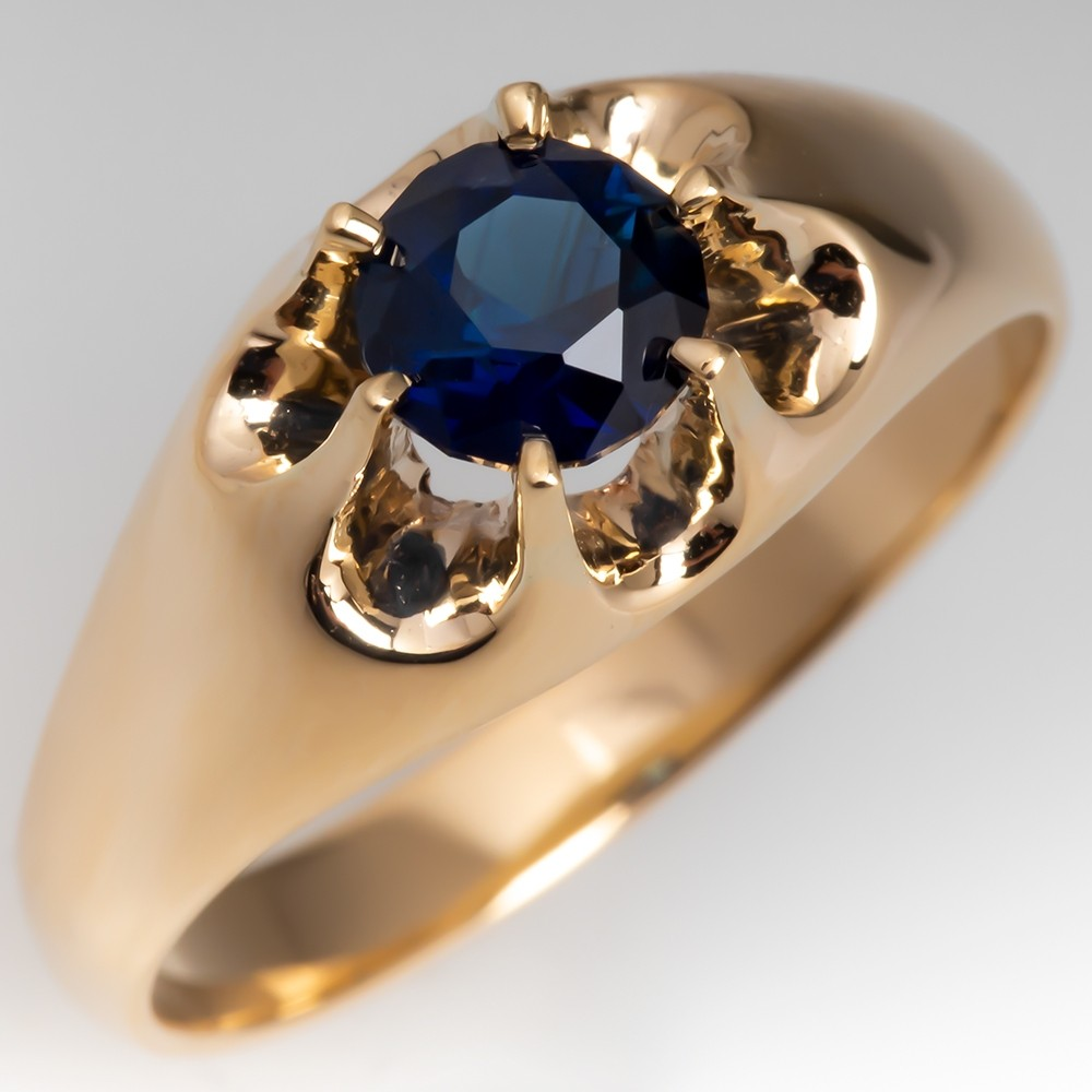 Claw Mount Solitaire Vivid Blue Green Sapphire Ring 14K Gold