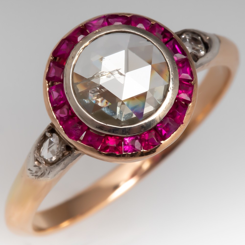 C1900 Victorian Rose Cut Diamond & Synthetic Ruby Halo Ring