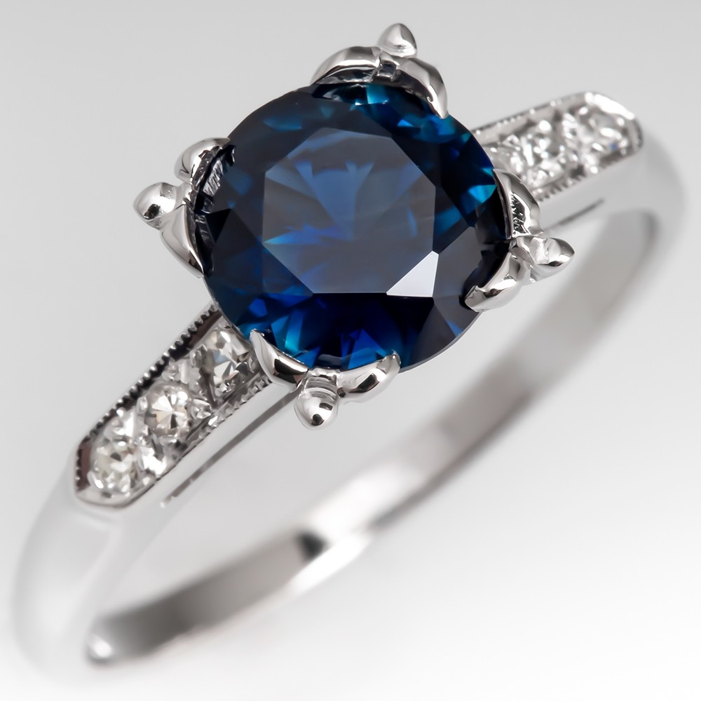 Vivid Natural Blue Sapphire Engagement Ring Vintage 14K White Gold