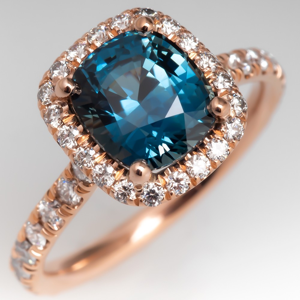 Cushion Cut No Heat Teal Sapphire Halo Diamond Ring 14K Rose Gold
