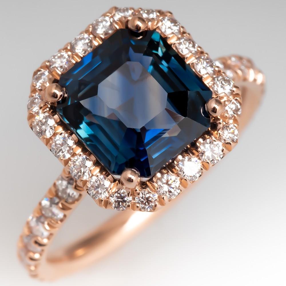Emerald Cut Blue Sapphire Ring 14K Rose Gold Diamond Halo